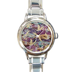 Textile Fabric Cloth Pattern Round Italian Charm Watch by Celenk