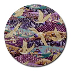 Textile Fabric Cloth Pattern Round Mousepads by Celenk