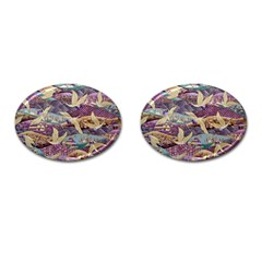 Textile Fabric Cloth Pattern Cufflinks (oval) by Celenk