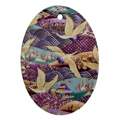 Textile Fabric Cloth Pattern Oval Ornament (two Sides) by Celenk