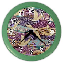 Textile Fabric Cloth Pattern Color Wall Clocks by Celenk