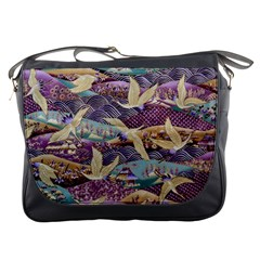 Textile Fabric Cloth Pattern Messenger Bags by Celenk