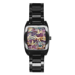 Textile Fabric Cloth Pattern Stainless Steel Barrel Watch by Celenk