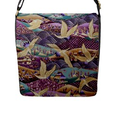 Textile Fabric Cloth Pattern Flap Messenger Bag (l)  by Celenk