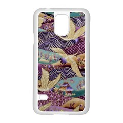 Textile Fabric Cloth Pattern Samsung Galaxy S5 Case (white) by Celenk