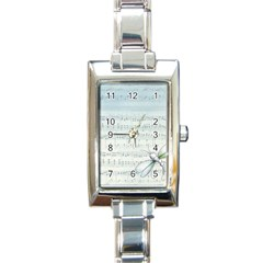 Vintage Blue Music Notes Rectangle Italian Charm Watch by Celenk