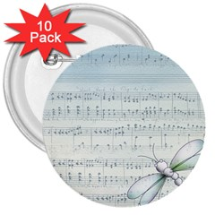 Vintage Blue Music Notes 3  Buttons (10 Pack)  by Celenk