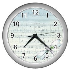 Vintage Blue Music Notes Wall Clocks (silver)  by Celenk
