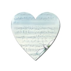 Vintage Blue Music Notes Heart Magnet by Celenk
