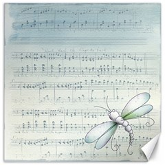 Vintage Blue Music Notes Canvas 16  X 16   by Celenk