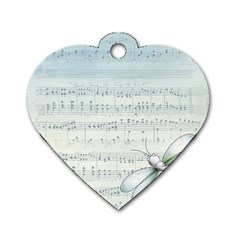 Vintage Blue Music Notes Dog Tag Heart (one Side) by Celenk