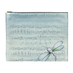 Vintage Blue Music Notes Cosmetic Bag (xl) by Celenk