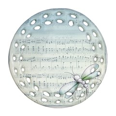 Vintage Blue Music Notes Round Filigree Ornament (two Sides) by Celenk
