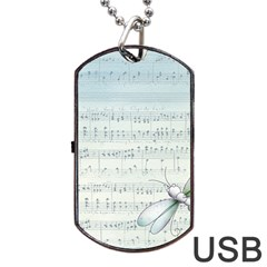 Vintage Blue Music Notes Dog Tag Usb Flash (two Sides) by Celenk