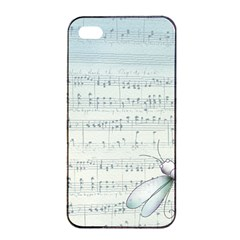 Vintage Blue Music Notes Apple Iphone 4/4s Seamless Case (black) by Celenk