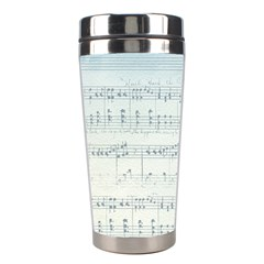 Vintage Blue Music Notes Stainless Steel Travel Tumblers by Celenk