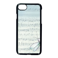 Vintage Blue Music Notes Apple Iphone 7 Seamless Case (black) by Celenk