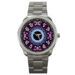 Kaleidoscope Shape Abstract Design Sport Metal Watch by Celenk