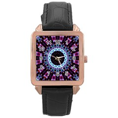 Kaleidoscope Shape Abstract Design Rose Gold Leather Watch  by Celenk
