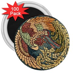 Wings Feathers Cubism Mosaic 3  Magnets (100 Pack) by Celenk