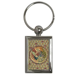 Wings Feathers Cubism Mosaic Key Chains (rectangle)  by Celenk