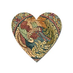 Wings Feathers Cubism Mosaic Heart Magnet by Celenk
