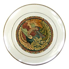 Wings Feathers Cubism Mosaic Porcelain Plates by Celenk