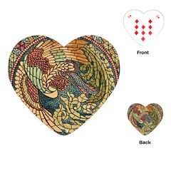 Wings Feathers Cubism Mosaic Playing Cards (heart)  by Celenk