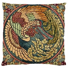 Wings Feathers Cubism Mosaic Large Cushion Case (one Side) by Celenk