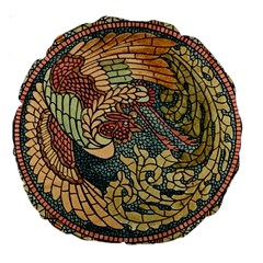 Wings Feathers Cubism Mosaic Large 18  Premium Round Cushions by Celenk