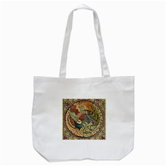 Wings Feathers Cubism Mosaic Tote Bag (white) by Celenk