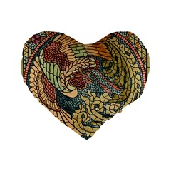 Wings Feathers Cubism Mosaic Standard 16  Premium Flano Heart Shape Cushions by Celenk