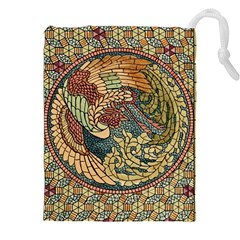 Wings Feathers Cubism Mosaic Drawstring Pouches (xxl) by Celenk