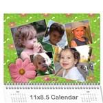 Pinky Green Floral - Flowers - Calendar - Wall Calendar 11  x 8.5  (18 Months)