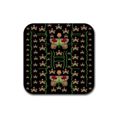 Roses In The Soft Hands Makes A Smile Pop Art Rubber Square Coaster (4 Pack)  by pepitasart