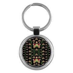 Roses In The Soft Hands Makes A Smile Pop Art Key Chains (round)  by pepitasart