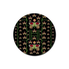 Roses In The Soft Hands Makes A Smile Pop Art Rubber Coaster (round)  by pepitasart