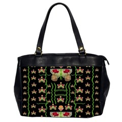 Roses In The Soft Hands Makes A Smile Pop Art Office Handbags (2 Sides)  by pepitasart