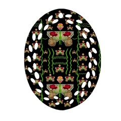 Roses In The Soft Hands Makes A Smile Pop Art Oval Filigree Ornament (two Sides) by pepitasart