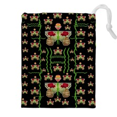 Roses In The Soft Hands Makes A Smile Pop Art Drawstring Pouches (xxl) by pepitasart