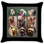 Dog Pillow - Throw Pillow Case (Black)