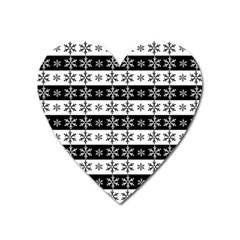 Snowflakes   Christmas Pattern Heart Magnet by Valentinaart