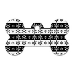 Snowflakes   Christmas Pattern Dog Tag Bone (two Sides) by Valentinaart