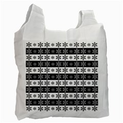 Snowflakes   Christmas Pattern Recycle Bag (one Side) by Valentinaart