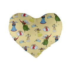 Christmas Angels  Standard 16  Premium Flano Heart Shape Cushions by Valentinaart