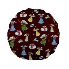 Christmas Angels  Standard 15  Premium Flano Round Cushions by Valentinaart