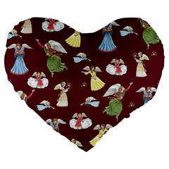 Christmas Angels  Large 19  Premium Flano Heart Shape Cushions by Valentinaart