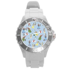 Christmas Angels  Round Plastic Sport Watch (l) by Valentinaart