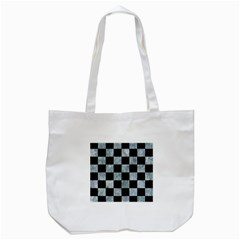 Square1 Black Marble & Ice Crystals Tote Bag (white) by trendistuff