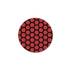 Hexagon2 Black Marble & Red Denim Golf Ball Marker (4 Pack) by trendistuff